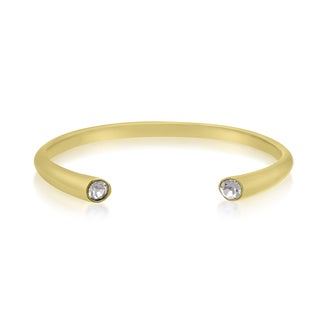 18K Yellow Gold Overlay Clear Crystal Bangle