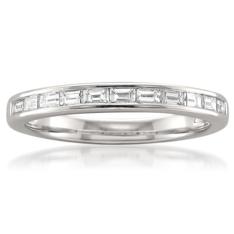 Montebello Platinum 1/2ct TDW Baguette-cut White Diamond Channel-set Wedding Band