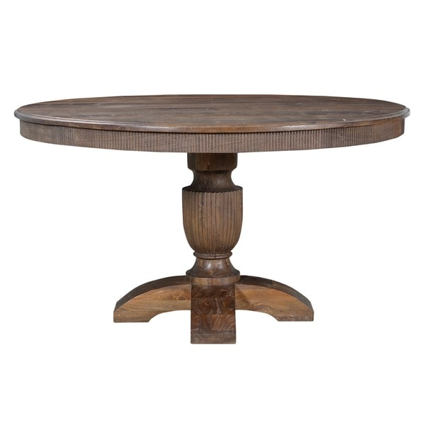 Brasilia 54 Inch Round Walnut Wood Dining Table Free Shipping Today