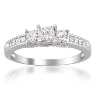 Montebello 14k White Gold 1ct TDW Princess-cut 3-Stone White Diamond Engagement Ring