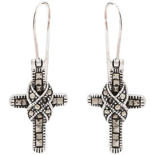 Kele & Co's Maracsite and .925 Sterling Silver Cross Earrings