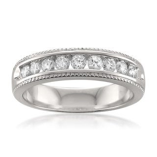 Montebello Platinum 1/2ct TDW Round-cut White Diamond Milgrain Wedding Band (G-H, VS1-VS2)