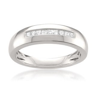 Montebello Platinum Men's 1/4ct TDW Princess-cut White Diamond Wedding Band