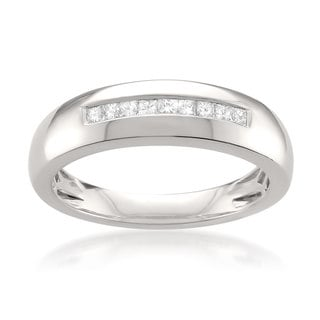 Montebello Platinum Men's 1/4ct TDW Princess-cut White Diamond Wedding Band (G-H, VS1-VS2)