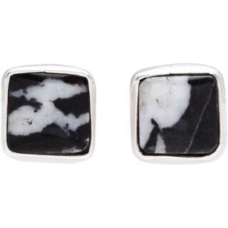 Kele&Co Black Zebra Jasper Stud Earrings in .925 Sterling Silver
