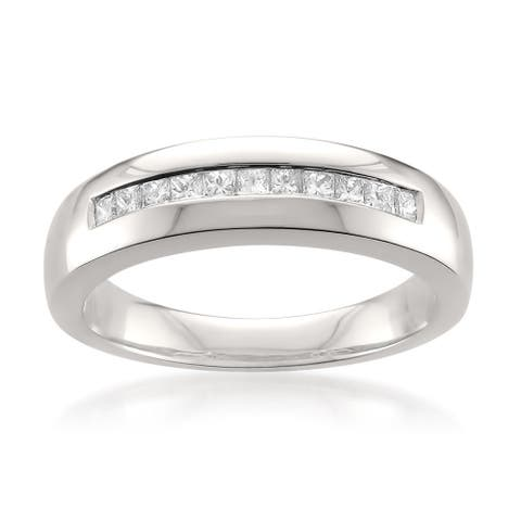 Montebello Platinum Men's 1/2ct TDW Diamond Wedding Band