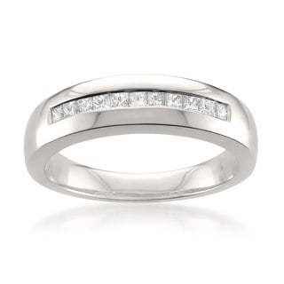 Montebello Platinum Men's 1/2ct TDW Princess-cut White Diamond Wedding Band (G-H, VS1-VS2)