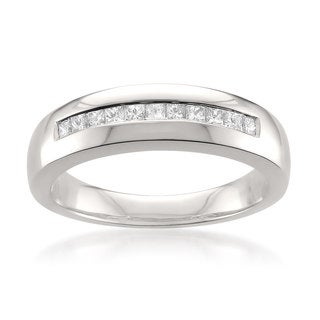 Brides Across America by Montebello Platinum Men's 1/2ct TDW Princess-cut White Diamond Wedding Band (G-H, VS1-VS2)