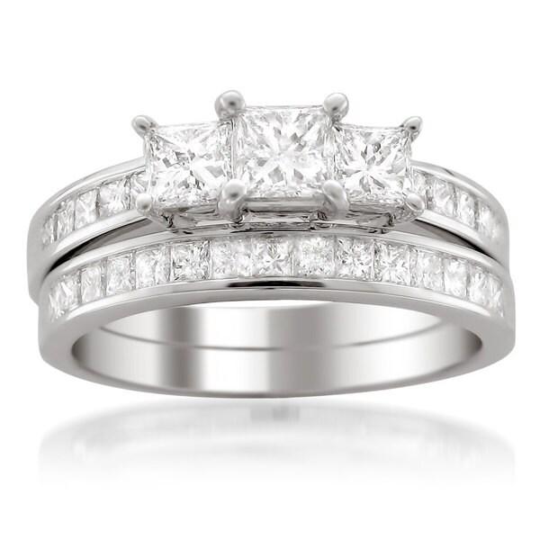 Montebello 14k White Gold 2ct TDW Princess-cut 3-Stone White Diamond 2-piece Bridal Set