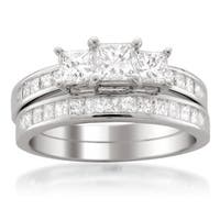 Montebello 14k White Gold 2ct TDW Princess-cut 3-Stone White Diamond 2-piece Bridal Set