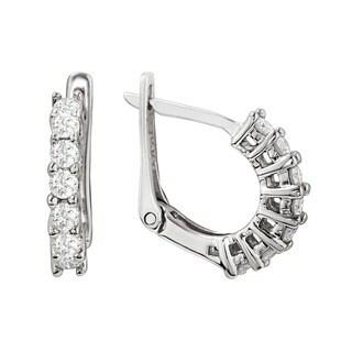 14k White Gold 1/2ct TDW Prong-set Round-cut Diamond Hoop Earrings (