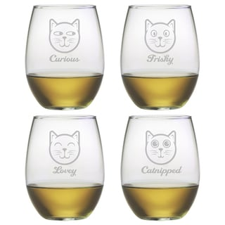 Feline Faces Stemless Wine Glass (Set of 4)