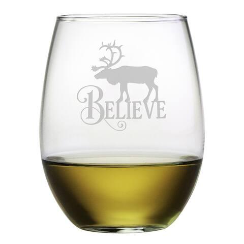 Believe Reindeer Stemless Wine Glass (Set of 4)