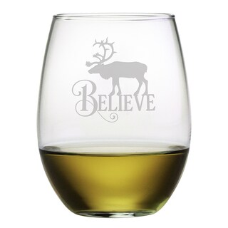 Believe Reindeer Stemless Wine Glass (Set of 4)