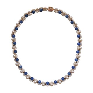 Blue Jade and Freshwater Pearl Necklace
