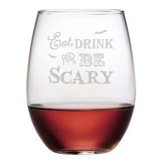 Eat Drink and Be Scary Stemless Wine Glass (Set of 4)