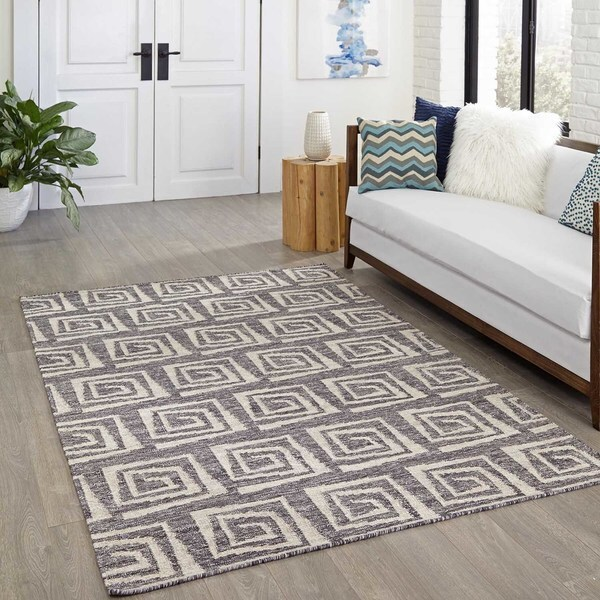 "Momeni Caravan Grey Hand-Woven Wool Reversible Rug (5' X 7'6) - 5' x 7'6"""