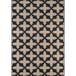 "Momeni Baja Crisscross Charcoal Indoor/Outdoor Area Rug - 1'8"" x 3'7"""
