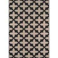"Momeni Baja Crisscross Charcoal Indoor/Outdoor Area Rug - 6'7"" x 9'6"""