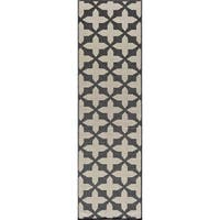 "Momeni Baja Crisscross Charcoal Indoor/Outdoor Area Runner Rug - 2'3"" x 7'6"""