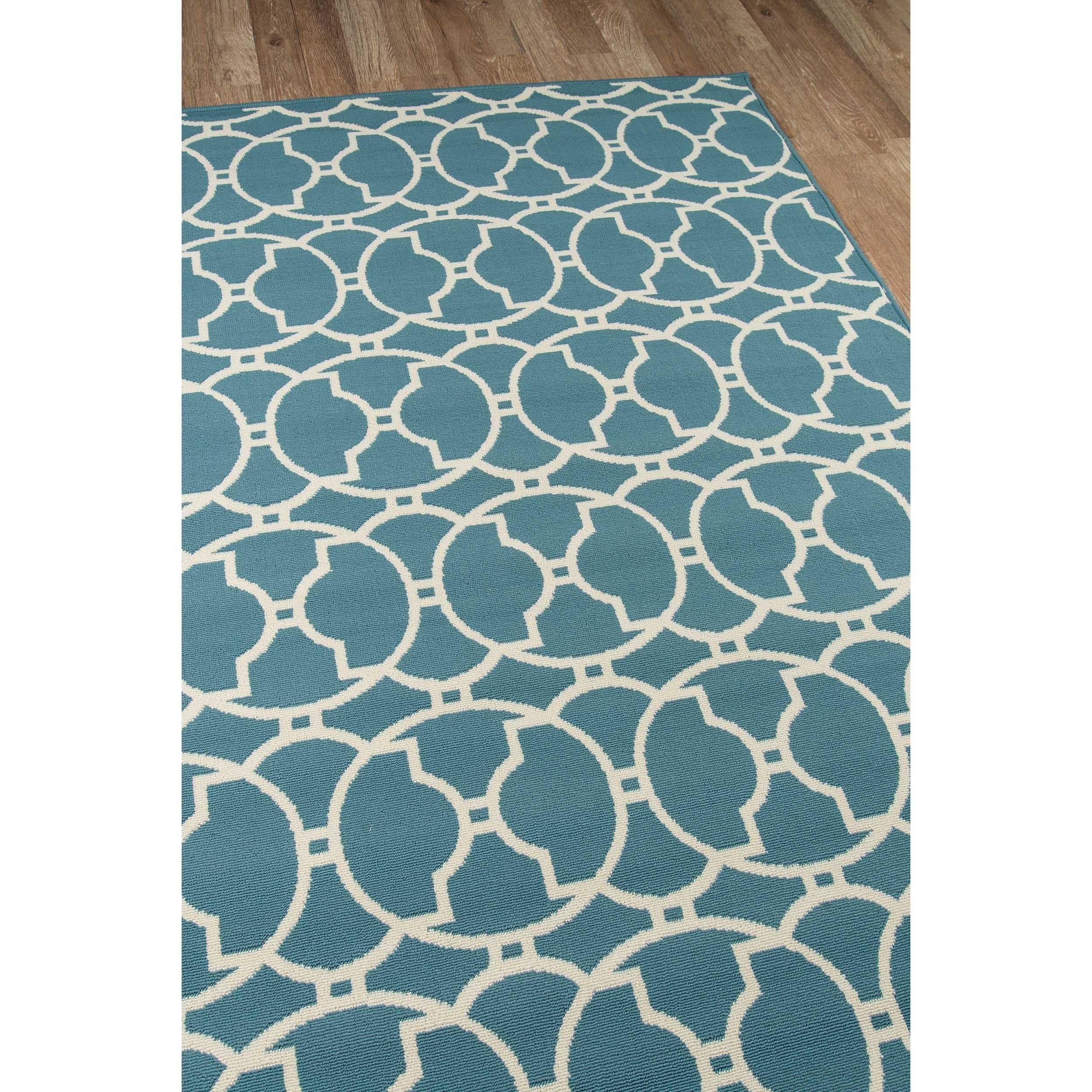 Momeni Baja Moroccan Tile Blue Indoor/Outdoor Area Runner Rug (2\'3 x ...