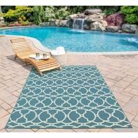 """Momeni Baja Moroccan Tile Blue Indoor/Outdoor Area Runner Rug - 2'3"""" x 7'6"""""""