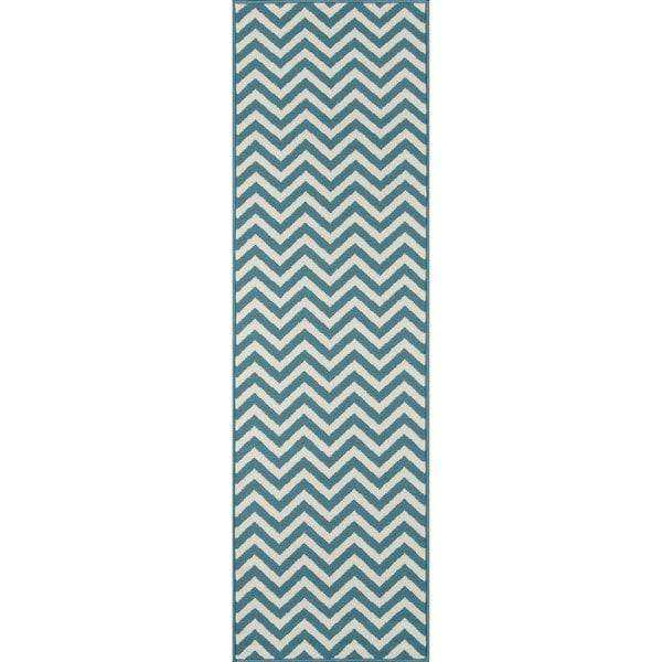 Momeni Baja Chevron Blue Indoor/Outdoor Area Runner Rug  (2'3 x 7'6)