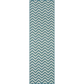 "Momeni Baja Chevron Blue Indoor/Outdoor Area Runner Rug - 2'3"" x 7'6"""