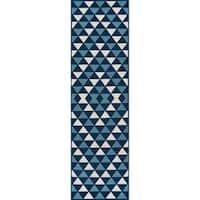 """Momeni Baja Kaleidoscope Blue Indoor/Outdoor Area Runner Rug - 2'3"""" x 7'6"""""""