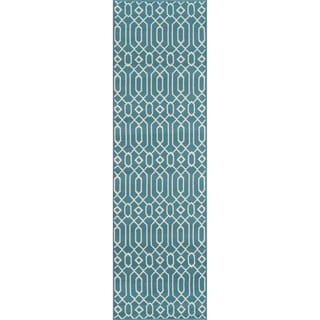 Momeni Baj Linksa Blue Indoor/Outdoor Area Runner Rug  (2'3 x 7'6)