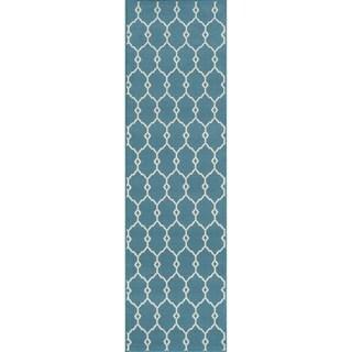 Momeni Baja Trellis Blue Indoor/Outdoor Area Runner Rug (2'3 x 7'6)