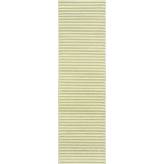 "Momeni Baja Stripe Green Indoor/Outdoor Area Runner Rug - 2'3"" x 7'6"""