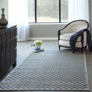 "Luxe Grey Lattice Geometric Machine-Made Rug (9'2""x12'6"")"
