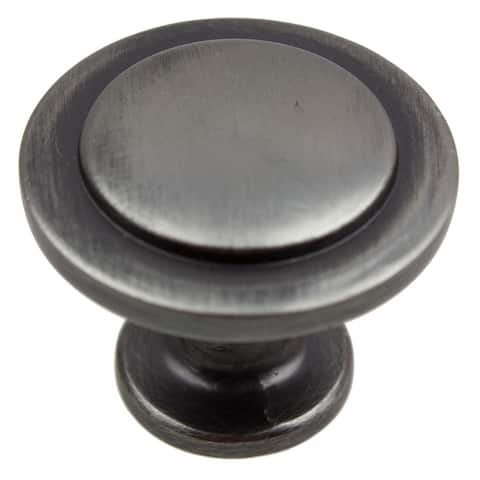 GlideRite 1.25-inch Satin Pewter Classic Round Ring Cabinet Knob (Pack of 10 or 25)