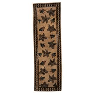 Herat Oriental Indo Hand-tufted Tibetan Beige/ Green Wool Area Rug (2'7 x 8')