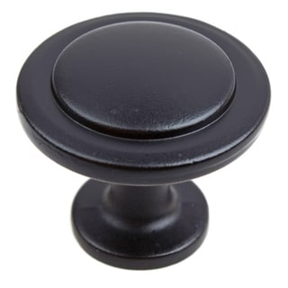 GlideRite 1.25-inch Matte Black Classic Round Ring Cabinet Knob (Pack of 10 or 25)