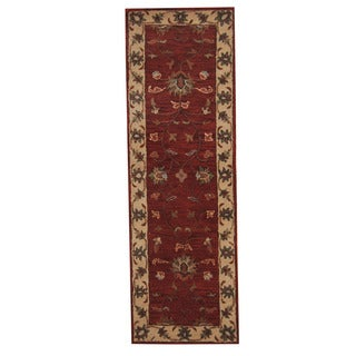 Herat Oriental Indo Hand-Tufted Mahal Red/ Ivory Wool Rug (2'7 x 8')
