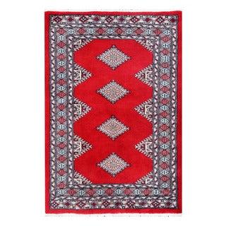 Herat Oriental Pakistani Hand-knotted Bokhara Red/ Ivory Wool Rug (2'8 x 3'11)