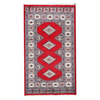 Herat Oriental Pakistani Hand-knotted Bokhara Red/ Ivory Wool Rug (2'7 x 4'7)