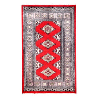 Herat Oriental Pakistani Hand-knotted Bokhara Red/ Ivory Wool Rug (2'8 x 4'4)