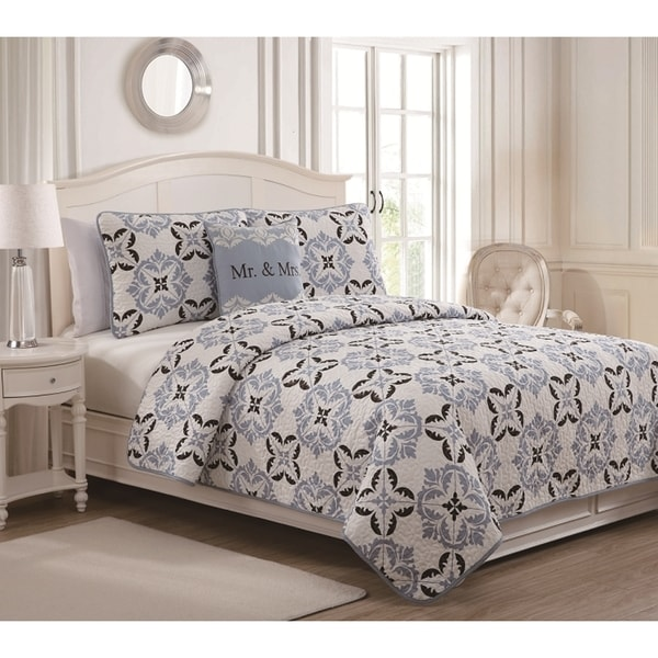 Mr    Mrs  4 piece Quilt Set. Mr    Mrs  4 piece Quilt Set   Free Shipping Today   Overstock com