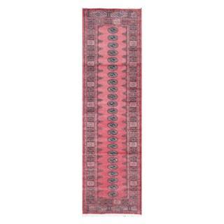 Herat Oriental Pakistani Hand-knotted Bokhara Salmon/ Gray Wool Rug (2'8 x 9'5)