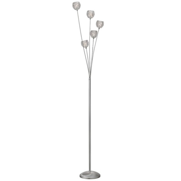 Dainolite 5-light Crystal Floor Lamp in Satin Chrome Finish