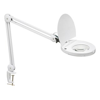 Dainolite Fluorescent Magnifier Lamp with 3D Lens in Reach in Gloss White Finish in comes with Table Clamp