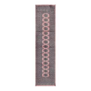 Herat Oriental Pakistani Hand-knotted Bokhara Salmon/ Gray Wool Rug (2'7 x 10'2)