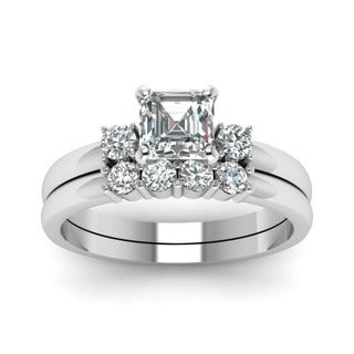 14k White Gold 3/4CTtw Asscher and Round Diamond Simple Engagement Ring Set by Fascinating Diamonds (E-F, SI1-SI2, GIA)