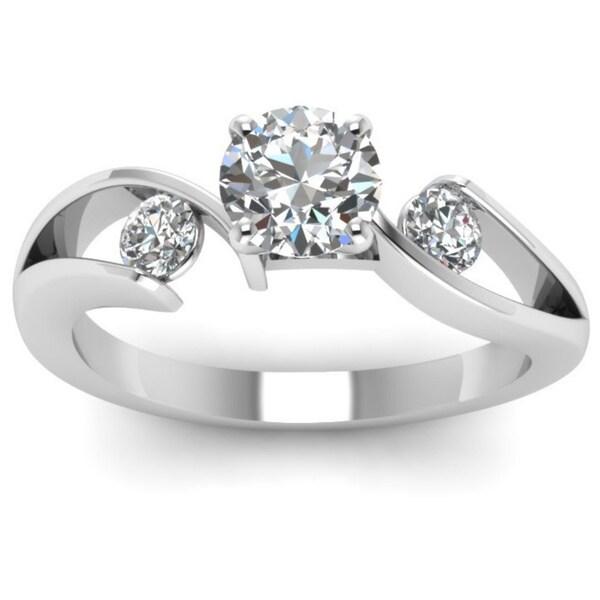 Shop 14k White Gold 1cttw Round Cut Diamond 3 Stone Swirl