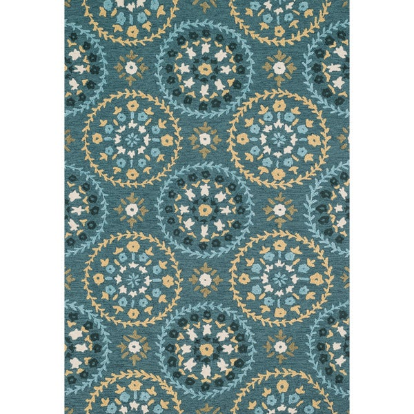 Shop Hand-hooked Peony Teal/ Gold Rug