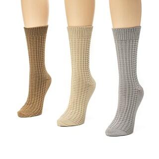 Muk Luks Women's 3 Pair Waffle Boot Sock Pack