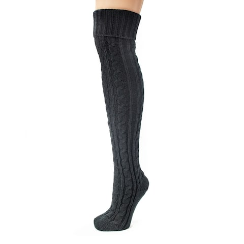 Muk Luks Women's Black Cable Knit Over the Knee Socks